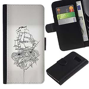 LASTONE PHONE CASE / Lujo Billetera de Cuero Caso del tirón Titular de la tarjeta Flip Carcasa Funda para Samsung Galaxy S6 SM-G920 / Pirate Ship Kraken Monster Myth