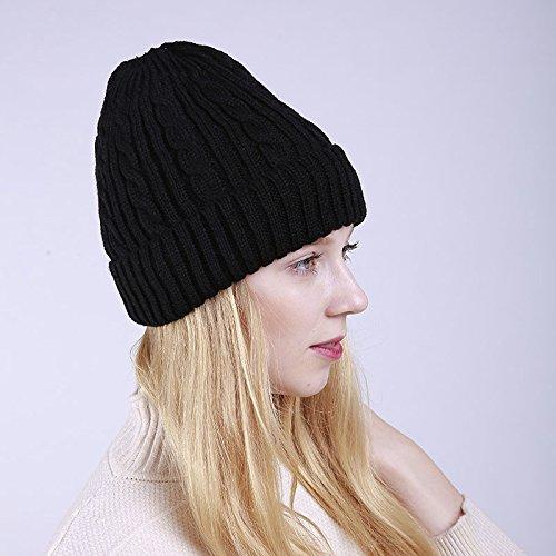Inverno Sci style Uomo Donna Black Autunno spesso Maglia Outdoor Acvip 2 Cappello Bonnet Wzqn6WBP