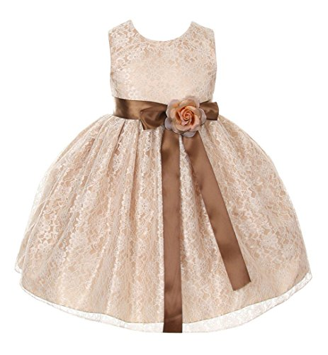 brown and champagne flower girl dresses - 4