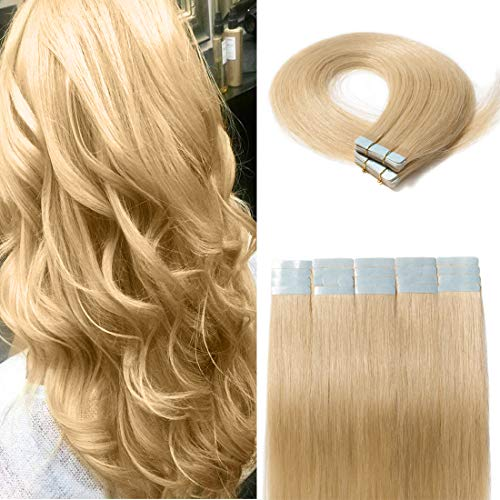 - 40 Pieces Rooted Tape in Hair Extensions Human Hair Seamless Skin Weft 100% Real Remy Invisible Tape Hair Extensions Straight Double Sided 14 inches #613 Bleach Blonde 80g