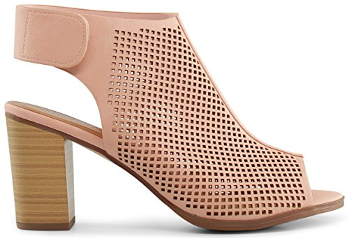 Marco Republic Tuscany Womens Peep Toe Slingback Ankle Strap Perforated Cutout Chunky Block Stacked Heels Sandals Booties Pumps - (Pink) - 7.5 (Sandals Heels Shoes Pink)