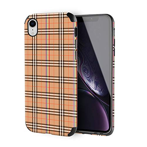 iPhone XR Slim Case, ZVE Apple iPhone XR Case with Leather Print Pattern Shockproof Protective Case Cover for Apple iPhone XR, 6.1 inch - Yellow Plaid