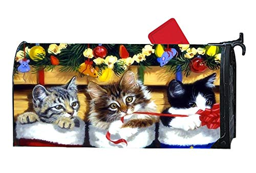 Kitten Stocking Christmas Home Decorative Cute Mailbox Magnetic Cover, Fall Mailbox Warps 6.5 x 19 inches Standard Rural Postbox Covers