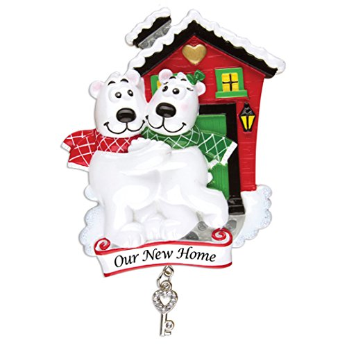 Personalized Our New Home Christmas Tree Ornament 2019 - Polar Bear Couple with Red Single Family House Keys Dangling First Two Winter Elegant Holiday Mates Host 1st Gift Year - Free Customization