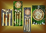 Mini Sand Spiral Ceramic & Fused Glass Sacred Symbol Wind Chime Windchime Patio Garden Decor