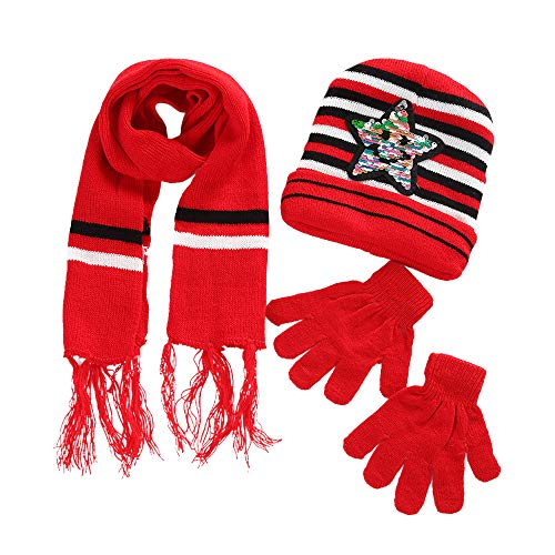 Price comparison product image Knit Caps for Kids Caps&Scarf&Gloves Suit Star Print Warm Knitted Hat Set (Red)