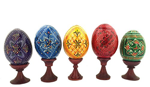 Set of 5 Ukrainian Wooden Easter Eggs Pysanky on Stands Red Yellow Green Blue Purple 3 1/2 Inch