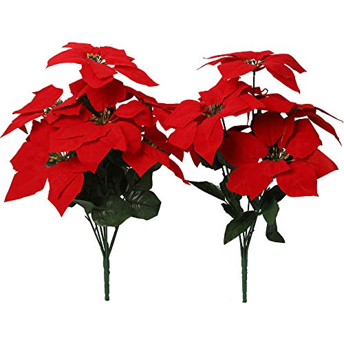 Nubry 2pcs Artificial Poinsettia Flowers Fake 7 Heads Red Christmas Decoration Bouquet Faux Flowers With Stem For Christmas Tree Home Garden Decor Buy Online In Dominica At Dominica Desertcart Com Productid 164505368