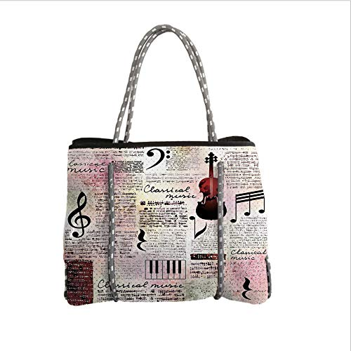 Neoprene Multipurpose Beach Bag Tote Bags,Old Newspaper Decor,Classical Music Theme Instruments Piano Violin Notes Symbols Decorative,Ruby Light Pink Black,Women Casual Handbag Tote Bags ()