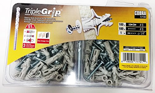 (8 1-1/4 Gray Ribbed Anchors with Screws (100-Pack))