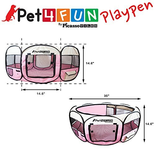PET4FUN-PN935-35-Portable-Pet-Puppy-Dog-Cat-Animal-Playpen-Yard-Crates-Kennel-w-Premium-600D-Oxford-Cloth-Tool-Free-Setup-Carry-Bag-Removable-Security-Mesh-CoverShade-2-Storage-Pockets-PINK