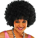 TopWigy Jumbo Afro Wig 8 Inches Short Kinkys Curly Human Hair wig for Black Women 70s Afro Wig Black for Cosplay Fancy Party