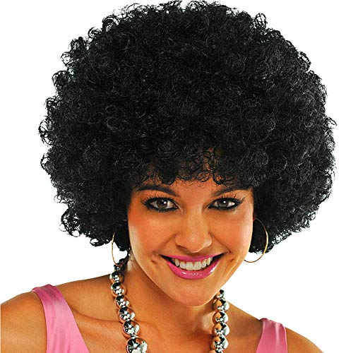 TopWigy Jumbo Afro Wig 8 Inches Short Kinkys Curly Human Hair wig for Black Women 70s Afro Wig Black for Cosplay Fancy Party]()