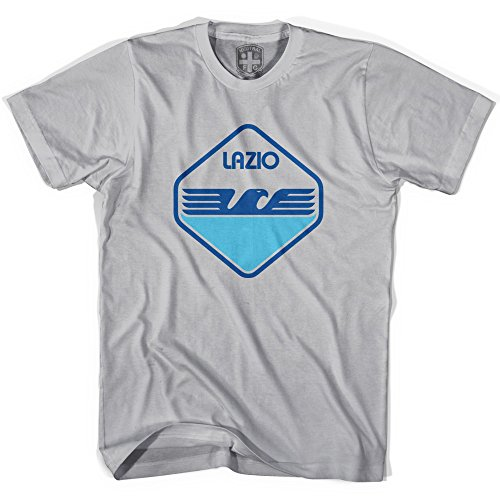 Lazio Soccer Team - Lazio 80's Crest T-shirt, Cool Grey, Adult Small