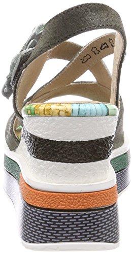 Laura Vita Women's Daddy 03 Ankle Strap Sandals, Multicoloured Green (Kaki Kaki)
