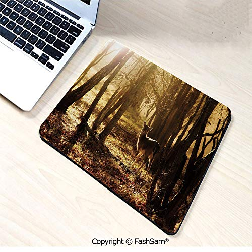 Non-Slip Rubber Mouse Pads Young Deer at Sunset