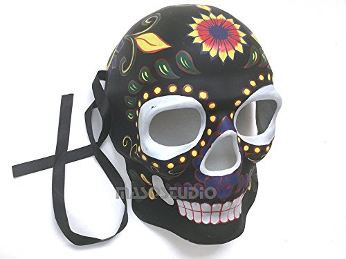 MasqStudio Mens Masquerade Skeleton Mask Day of The Dead Día de Muertos Wear or Deco (Black) -