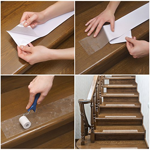 Kenley Non-Slip Stair Treads for Dogs and Pets - Pack of 4 Clear Step Strips 6''x24'' - Indoor & Outdoor - Anti-Slip Floor Vinyl Safety Grip Tape with Adhesive for Steps & Stairs - Fall Risk Prevention by Kenley (Image #4)
