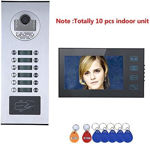 """防水12ボタン10モニタとタッチボタン7"""" 10アパート/ファミリービデオドア電話インターホンシステムRFID IR-CUT HD 1000TVLカメラドアベルカメラ"""