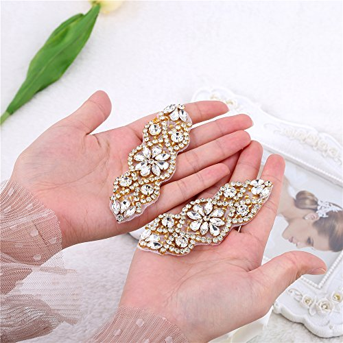 FANGZHIDI 2 Pieces Sew on Mini Rhinestone Appliques Sparkly Additions Decoration Embellishment Bridal Applique Patches with Iron on Crystals Beads to Wedding Dresses Brides Gown Accessories Home (Princess Dress Sew)