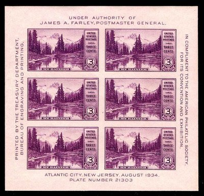 1934 National Parks Souvenir Exhibition Sheet of Six 3 Cent Postage Stamps Scott 750 By USPS ()