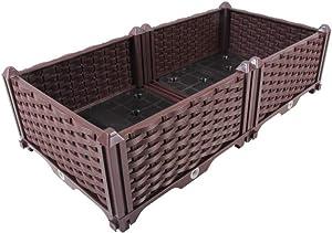 BAOYOUNI Rectangular Raised Garden Bed Kit Indoor Outdoor Plastic Planter Grow Box for Fresh Vegetables, Herbs, Flowers & Succulents, Brown, 30.7'' x 15.35'' x 8.66''