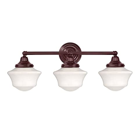 Schoolhouse Bathroom Light With Three Lights In Bronze Finish