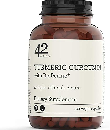 42Nutrition Turmeric Curcumin Supplement with BioPerine for Inflammation, Pain Relief and Joint Support 120 Vegan Capsules – 95 Standardized Curcuminoids – Recyclable Amber Glass Bottle