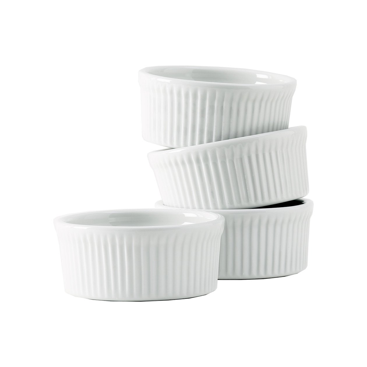 Tuxton Home Duratux Porcelain White Soufflà 10 oz - Set of 4; Heavy Duty; Chip Resistant; Lead and Cadmium Free; Freezer to Oven Safe up to 500F