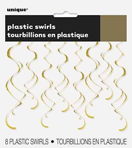 26 Plastic Hanging Swirl Gold Decorations, 8ct