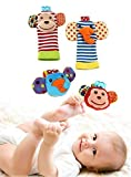 Happy Monkey Baby Wrist Rattles and Foot Finders Set High Contrast Infant Foot Finders Socks and Newborn Hand Wrist Rattle Toy Cute Engaging Elephants and Monkeys Bright Developmental Colors Patterns