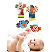 Happy Monkey Baby Wrist Rattles for Babies and Foot Finders Set Small Foot Toys Rattle Socks Newborn Toy Soft Toys for Babies Sensory Toys for Babies Baby Rattle Toy Smart Sock Soft Baby Toys New Born