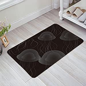 Libaoge Monochrome Jellyfish Pattern Doormat Welcome Mat Entrance Mat Indoor/Outdoor Doormat