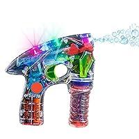 Máquina sopladora de pistola de burbujas Kidsco - Light Up LED Blaster transparente - para niños, juegos, aire libre, interiores, regalos y favores para fiestas - 1 solución de burbujas y baterías incluidas