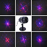 Lightess Christmas Projector Lights Laser Lights Moving Galaxy Show Spotlights Outdoor Decorations for Party - Holiday - Birthday - Festival - Stage Light (Red-Blue)