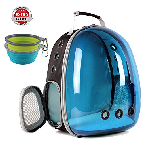 (Hcupet Cat Carrying Backpack, Space Capsule Outdoor Pet Backpack for Small Dog, Polarized Transparency Anti-Glare & UV Protection Waterproof Cat Holding Backpack (Blue))