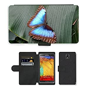PU LEATHER case coque housse smartphone Flip bag Cover protection // M00112997 Mariposa Naturaleza Azul Insecto Animal // Samsung Galaxy Note 3 III N9000 N9002 N9005