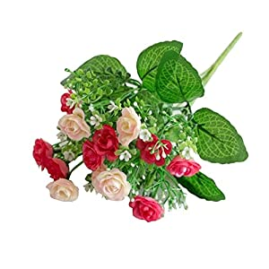 dezirZJjx Artificial Flowers 1 Pc/13 Buds Artificial Rose Flowers Grass Wedding Party Office Home Decoration - Pink 107