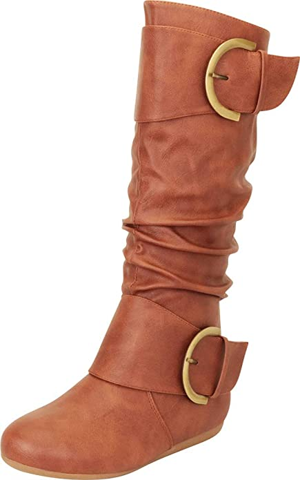 USA Women Leather Mid Calf Boots Ladies Casual Round Toe Buckle Boots Slip On