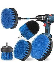 Holikme Borstfäste borrmaskinsset, 5 stycken borsthuvuden sladdlös skruvdragare borste borrborste, kraftfull borrborste rengöringsborste för fälgar/kakel/kök/golv/bil/badkar, blå
