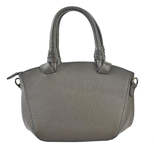 L'embrayage Gris Italie cuir main sac en la de femme en véritable Cm petit 24x18x14 bandoulière CTM fabriquée avec à dqOU1d