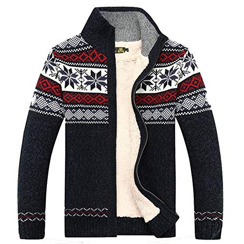 - Kedera Fashion Winter Cotton Knitted Cardigan Men's Casual Thick Warm Sweater (Large, Blue)