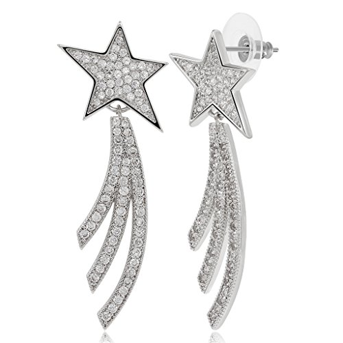 Kemstone Silver Plated Crystals Shooting Star Dangle Earrings for Women