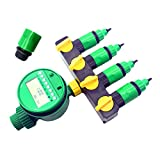 ADHERETOFLY 4 Way Garden Hose to Hose Connector Hose Faucet Splitter with Electronic Water Timer