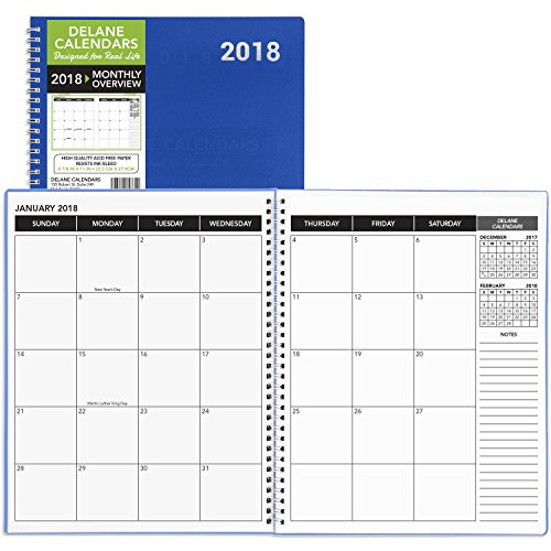 Daily Monthly Planner 2018 Calendar / Appointment Book, Blue Cover, 8.5 x 11