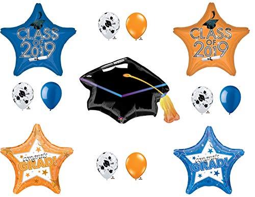 Class of 2019 Blue & Orange Graduation Party Balloons Decoration Supplies -