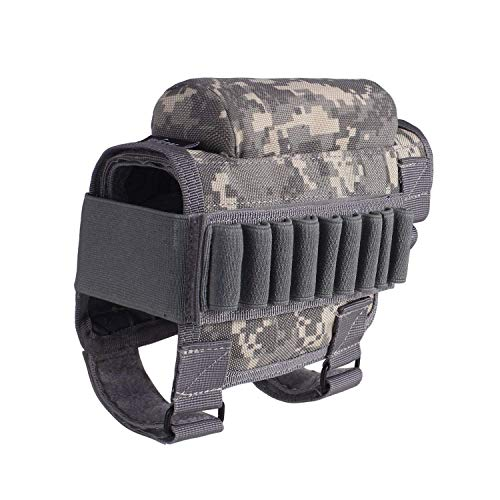 Tactical Gun Rifle Buttstock, Hunting Shooting Tactical Cheek Rest Pad Ammo Pouch with 7 Shells Holder Buttstock Cheek Rest Riser Cartridges Carrier Case Holder (ACU)