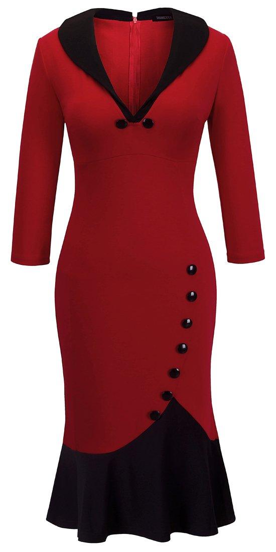 HOMEYEE Women's V Neck Ball Fishtail Pencil Dress UB27(18, Red)