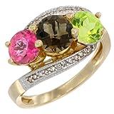 14K Yellow Gold Natural Pink Topaz, Smoky Topaz & Peridot 3 stone Ring Round 6mm Diamond Accent, sizes 5 - 10