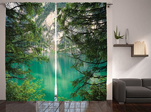 Ambesonne Lakehouse Decor Collection Mountain Lake Lago